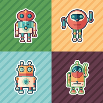 Set di adesivi robot amichevoli.
