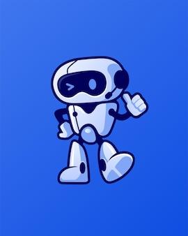 Personaggio dei cartoni animati di mascotte robot ammiccante amichevole