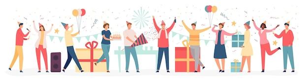 Amici al compleanno. il team aziendale celebra l'evento festivo con torta, palloncini, regali e coriandoli. uomini e donne al concetto di vettore di festa. amico che arriva con scatole regalo, bevendo champagne