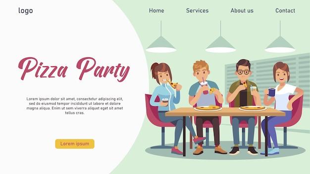 Caffè degli amici. gruppo di giovani ragazze e ragazzi a tavola che mangiano pizza e bevono soda, modello di pagina di destinazione, illustrazione vettoriale piatta dei cartoni animati
