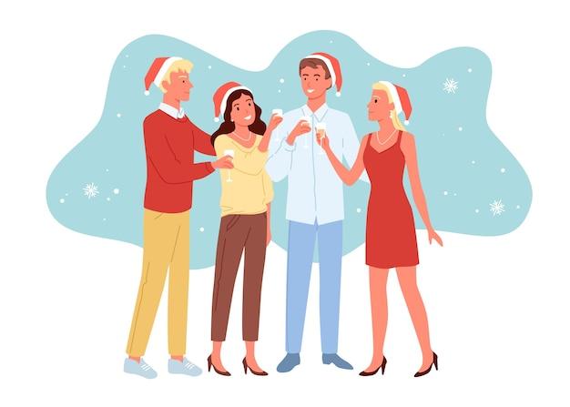 Amici che festeggiano il nuovo anno insieme, ragazze e ragazzi che si divertono, festa di natale, bevono champagne