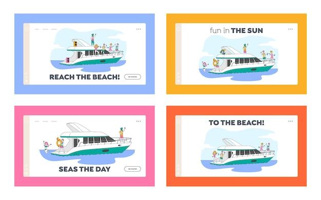Società di amici che si distende su yacht di lusso al set di modelli di pagina di atterraggio sull'oceano
