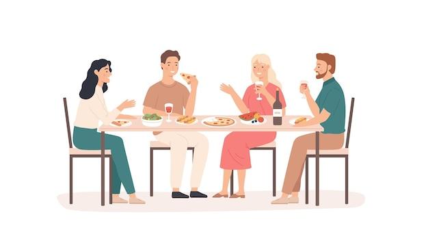 Amici che mangiano. persone divertenti e sorridenti a tavola in ristorante, bar o bevande a casa, mangiano piatti gustosi concetto amichevole di ritrovo vettoriale. illustrazione ristorante persone che parlano incontro