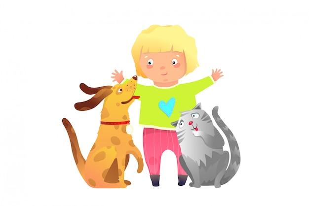 Amici per sempre una ragazza e un cucciolo di cane e gatto bambino clip art cartoon