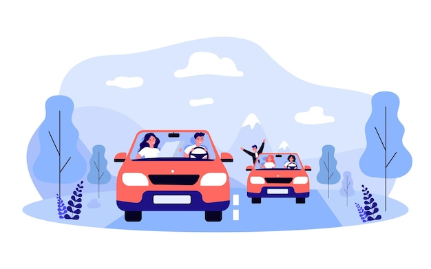 Amici che vanno in viaggio insieme. illustrazione vettoriale piatto. giovani uomini e donne che viaggiano su due auto identiche lungo un percorso prestabilito. avventura, amicizia, trasporti, viaggi, concetto di auto