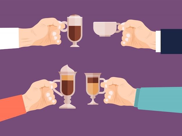 Mani degli amici che tengono l'illustrazione delle tazze di caffè.
