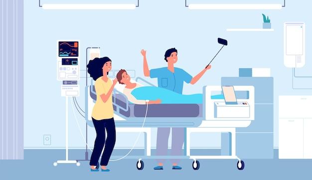 Amici in ospedale. pazienti, persone felici che fanno selfie con il loro amico a letto. ragazzo che si sta riprendendo, visitatori della clinica nell'illustrazione vettoriale del reparto. riabilitazione ospedaliera, assistenza sanitaria e recupero