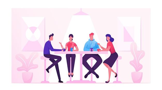Amici che si incontrano in un caffè o un bar. compagnia di giovani che mangiano caffè o pasto in un ristorante moderno che comunica, fumetto illustrazione piatta