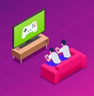 Amici che giocano a casa con i gamepad