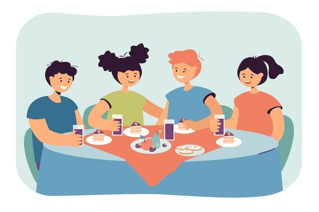 Amici seduti a tavola in ristorante e mangiare insieme. personaggi dei cartoni animati per bambini che cenano, godendosi la loro illustrazione piatta del pasto