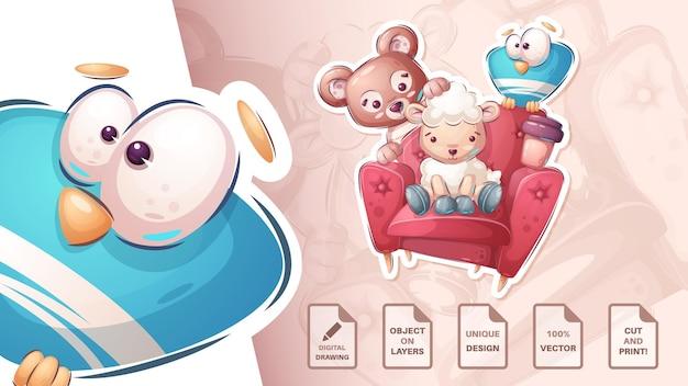 Amici sul poster del divano e merchandising vector eps 10