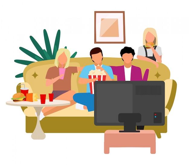 Amici che guardano l'illustrazione piana di vettore della tv. ragazze, ragazzi guardano film, film con popcorn e personaggi dei cartoni animati di fast food. le migliori amiche che trascorrono del tempo insieme, incontrandosi. concetto di amicizia