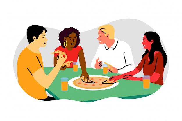 Amicizia, pausa, cena, comunicazione, incontro, affari, concetto di pizza