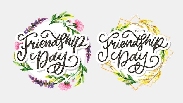 Illustrazione di giorno di amicizia con testo ed elementi per la celebrazione della giornata dell'amicizia