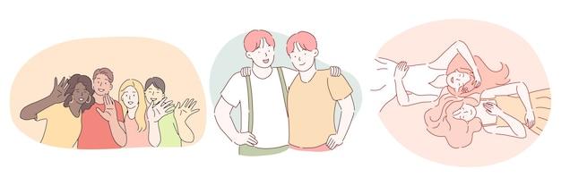 Amicizia, concetto di società di amici internazionali di razza mista.