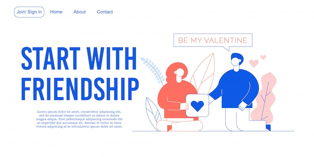Pagina di destinazione della costruzione del rapporto di amicizia
