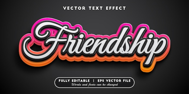 Effetto di testo dell'amicizia con stile di testo modificabile