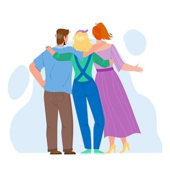 Amicizia giovani vista laterale posteriore vettore. uomo e donna che si abbracciano insieme, amicizia e cooperazione. personaggi amici che si abbracciano e hanno il tempo libero illustrazione piatta del fumetto Vettore Premium