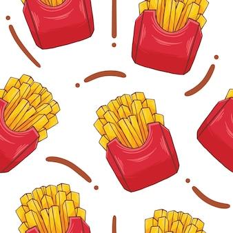 Modello senza cuciture fast food di patatine fritte in stile design piatto