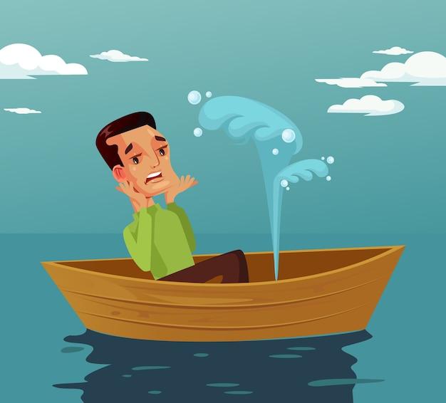 Carattere dell'uomo di espressione del viso spaventato che si siede nel disastro di incidente della barca rotta, illustrazione isolata fumetto di progettazione grafica piana