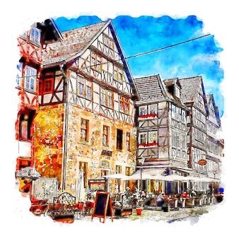 Illustrazione disegnata a mano di schizzo dell'acquerello di fritzlar germania
