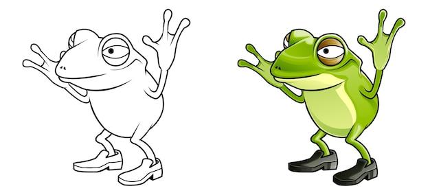 Cartone animato rana facilmente pagina da colorare per bambini