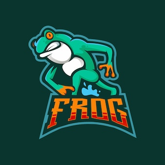 Logo della mascotte di rana esport
