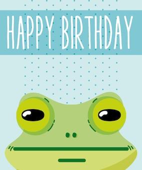 Fumetto sveglio della carta di buon compleanno della rana