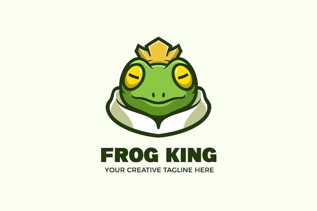 Modello di logo della mascotte dei cartoni animati del re rana