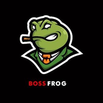 Disegno del logo mascotte rana. illustrazione di una rana con una cravatta mentre si fuma