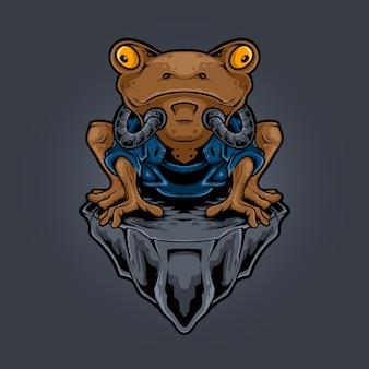 Illustrazione di stile robotico ninja rana