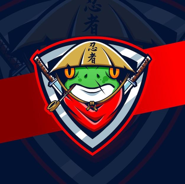 Rana ninja samurai mascotte esport logo progetta personaggio