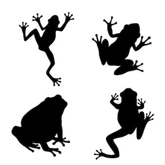 Siluetta della rana nelle pose differenti isolate su fondo bianco.