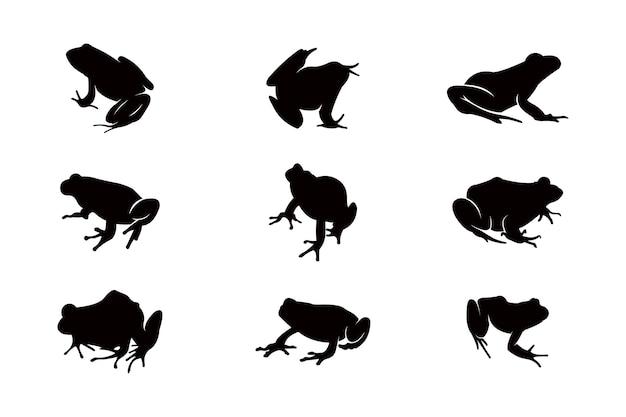 Insieme dell'icona della siluetta della rana