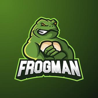 Logo esport mascotte di frogman