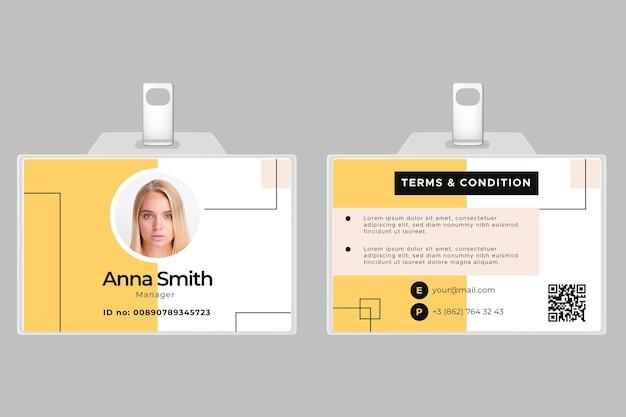 Modello di carta d'identità orizzontale anteriore e posteriore