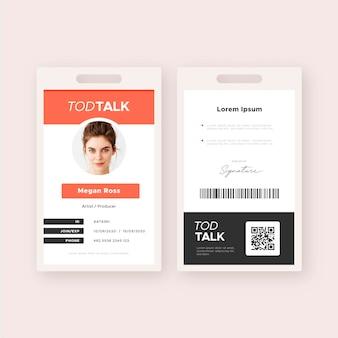 Modello di carta d'identità minima anteriore e posteriore con foto
