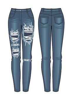 Vista anteriore e posteriore dei jeans da donna. illustrazione vettoriale.