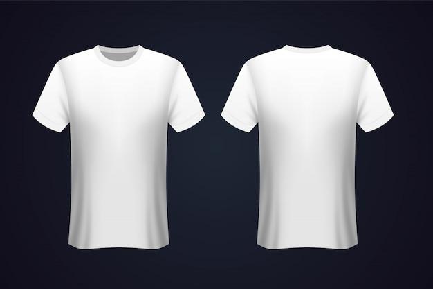 T-shirt bianca anteriore e posteriore