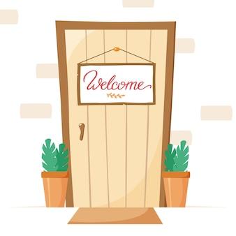 Porta d'ingresso con cartello di benvenuto e piante in vaso, targhetta d'ingresso e illustrazione piatta