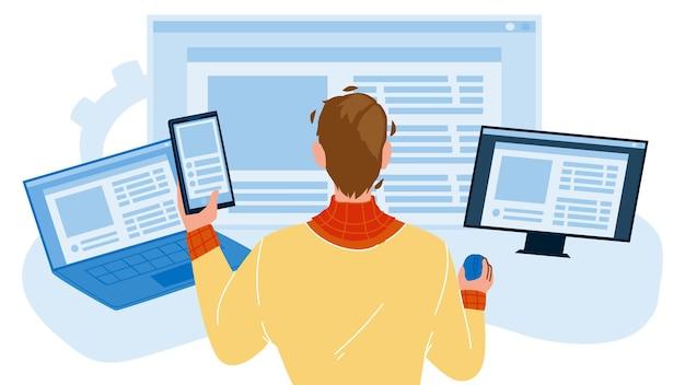 Vettore di occupazione dello sviluppatore di sviluppo front-end. giovane che lavora al computer, attività professionale di sviluppo front-end. personaggio, ragazzo, lavoratore, sviluppo, appartamento, cartone animato, illustration