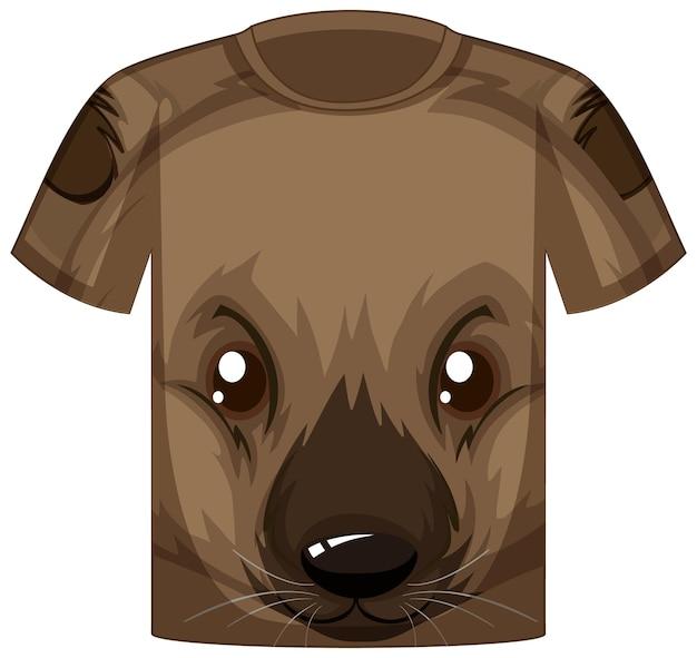Parte anteriore della t-shirt con la faccia di un simpatico orsetto