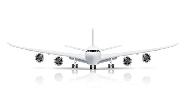 Vista frontale dell'aereo isolato