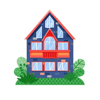 Vista frontale casa blu con finestre dai colori brillanti e tetto rosso facciata della casa con finestre e balcone