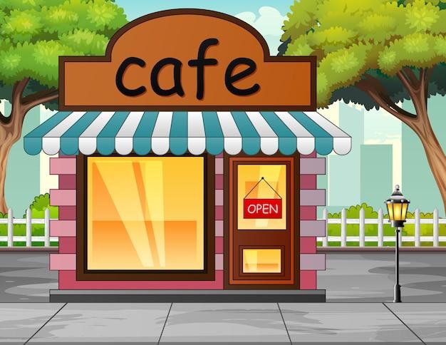 Vista frontale di un'illustrazione di un edificio di un caffè
