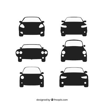 Vista frontale di automobili