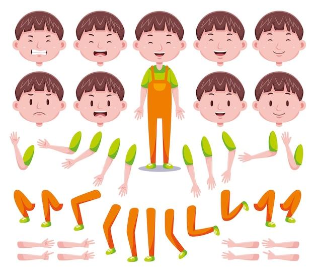 Set di creazione del personaggio di ragazzi carini vista frontale