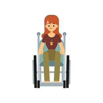 Vista frontale di una donna disabile in un'illustrazione di sedia a rotelle.