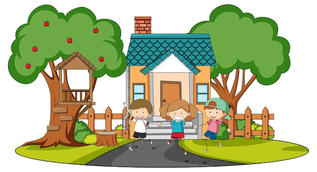 Vista frontale della mini casa con molti bambini su bianco