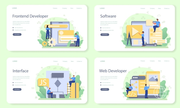 Banner web per sviluppatori frontend o set di pagine di destinazione